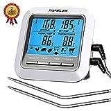 Habor Thermometer Küche Digitales Grill Thermometer Bratenthermometer Fleischthermometer 2 Sonden Haushaltsthermometer Temperatur Voreinstellung, Küchenwecker, Sofortiges Auslesen für Küche, Grill