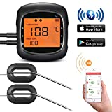 Habor 6 Ports Grillthermometer Bluetooth Ofenthermometer Digital Steak Thermometer Großes Display mit Hintergrundbeleuchtung Magnetisches Montage 2 Sonden Fleischthermomete für Küche Grill Essen Milch