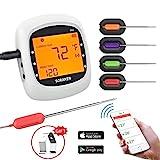 Soulcker Grillthermometer Bluetooth, Digital Wireless BBQ Thermometer Grill mit 4 Sonden, Funk Thermometer Bratenthermometer Fleischthermometer Set für Küche, Smoker, Steak, Unterstützt IOS, Android