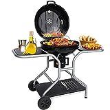 Aiglam BBQ Grill, Holzkohlegrill Kugelgrill 58cm Babecue Grill BBQ Smoker Tragbar mit Deckel, Räder für Camping & Gartenparty