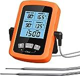 Cocoda Grillthermometer Fleischthermometer mit Zwei 6.4 Zoll Edelstahlsonden & Timer, Wasserdicht LCD Bratenthermometer Digital mit Gummischutzhülle, Genaue & Schnelle Messung für Küchen Smoker Grill