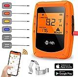 Te-Rich Wireless Grillthermometer Smart Küchenthermometer Fleischthermometer Bratenthermometer Kochthermometer für Ofen, Grill, Smoker, mit LCD Display und Magnetic, 6 Sonden, Unterstützt IOS, Android